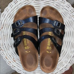 Used Birkenstock's three strap navy leather